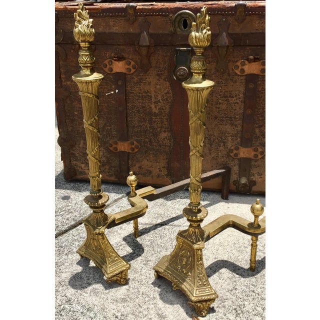 Antique Empire Brass Andirons - A Pair - Image 2 of 11