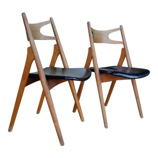 1950's Hans Wegner Black Leather & Oak Sawbuck Chairs - a Pair