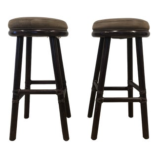 1990s Vintage McGuire Counter Height Stools- A Pair For Sale