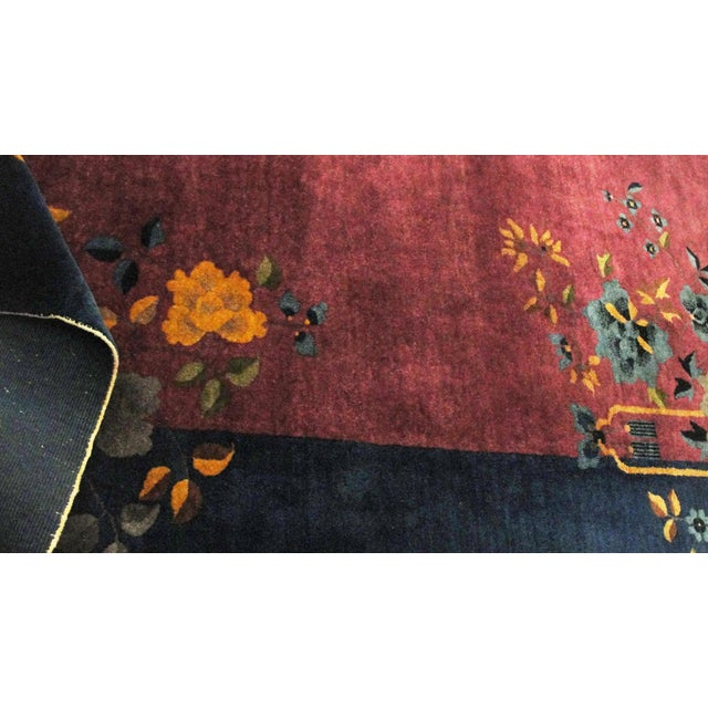 """Antique Art Deco Chinese Oriental Rug-8' X 9'6"""" For Sale - Image 11 of 12"""