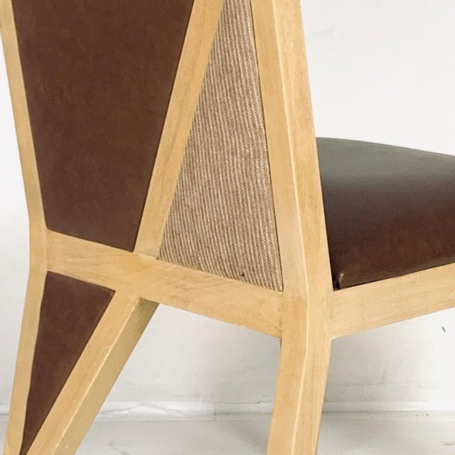 Memphis Custom Postmodern Memphis Style Blonde Wood Dining or Occasional Chairs - Set of 10 For Sale - Image 3 of 12
