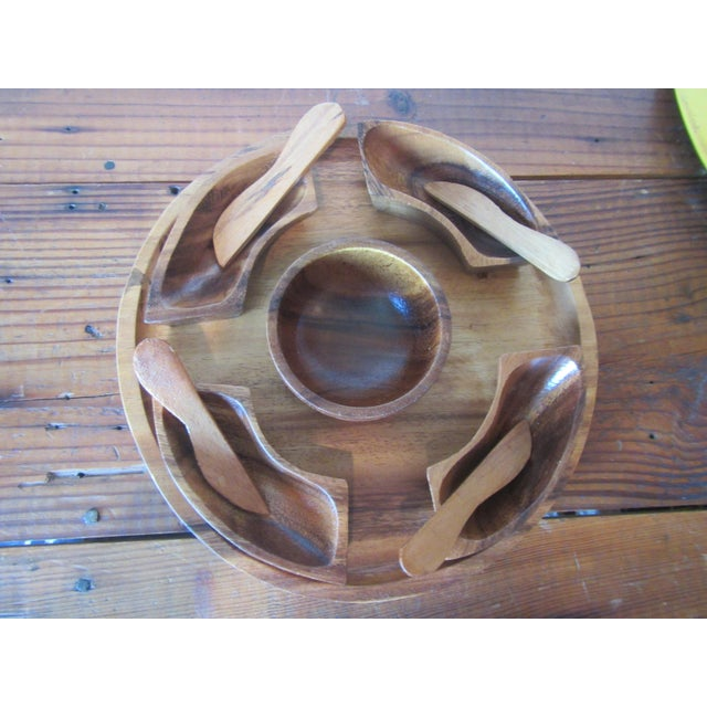 Mid-Century Modern 1970s Mid Century Modern Teak Hors d'Oeuvres Serving Tray - 10 Pieces For Sale - Image 3 of 11