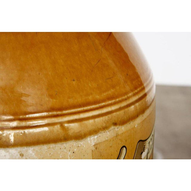 Glazed Ceramic Crock Lamp With English Royal Coat of Arms For Sale - Image 9 of 13