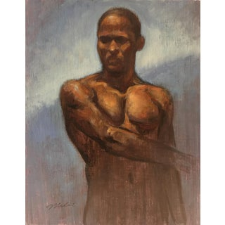 "Peter Contemporary Nude Figure ""Man With Blue Wall"" For Sale"