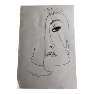 Mid-Century Modern Lady Original Sketch Line Drawing For Sale