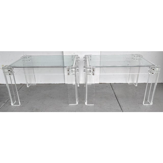 Mid 20th Century Mid-Century Modern Lucite Side/Cocktail Tables With Glass Tops - a Pair For Sale - Image 5 of 12