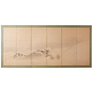 Japanese Six-Panel Screen Snowscape After Maruyama Okyo For Sale