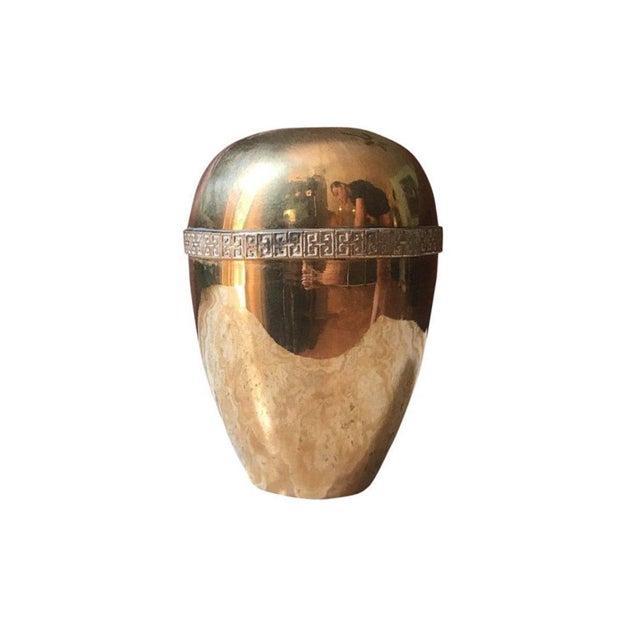 1970s 1970s Modernist Brass Greek Key Vase For Sale - Image 5 of 5