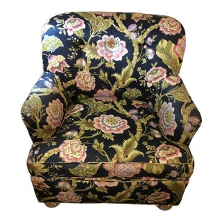 1980s Cottage Mason Art Custom Made Floral Armchair For Sale