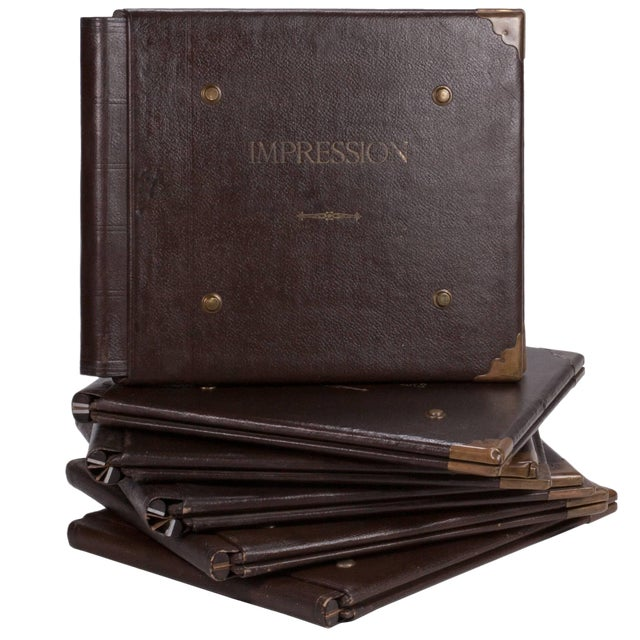 1900s French Factory Portfolios in Leather - Set of 5 For Sale