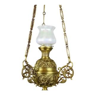 "Cast Brass ""Sanctuary"" Fixture with Art Glass Quezal Shade"