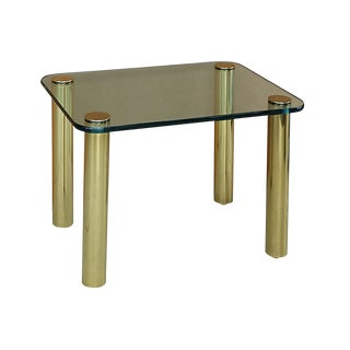 Pace Collection Brass & Glass Side Table For Sale