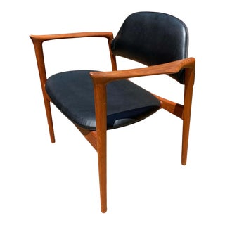 Ib Kofod Larsen Writing Chair in Teak With Leather Upholstery For Sale