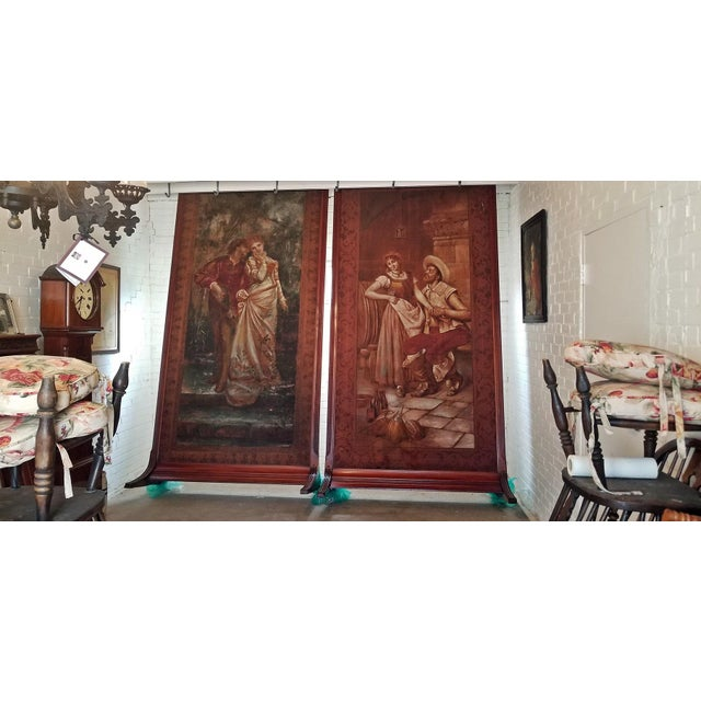 Pair of Monumental Framed Italian 18c Painted Tapestries For Sale - Image 10 of 13
