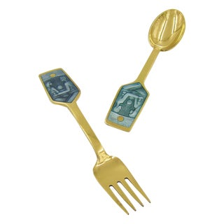 Anton Michelsen Gilded Silver and Enamel Christmas Fork and Spoon Set, 1973 For Sale