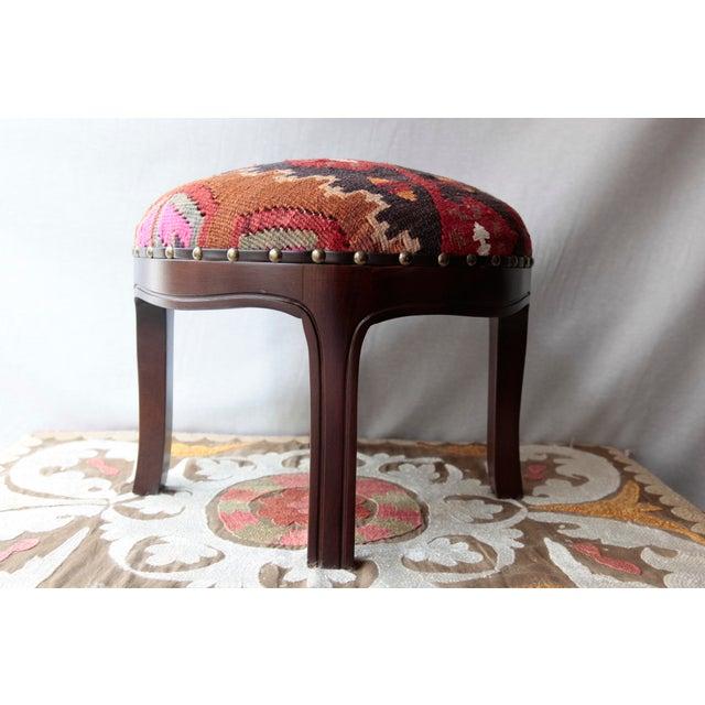Textile Modern Kilim Upholstery Footstool-Round Kilim Stool For Sale - Image 7 of 7