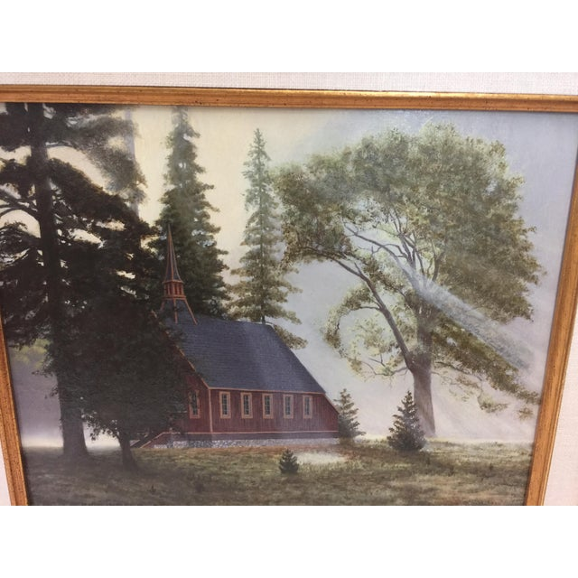 Signed Portrait dated 1995, Little Red Church , Yosemite, In Excellent condition, (not james fetherolf). Beautiful use of...