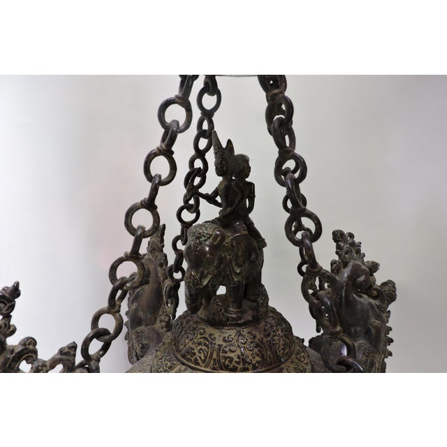 Thai Cast Bronze Oil Temple Lamp - Image 2 of 5