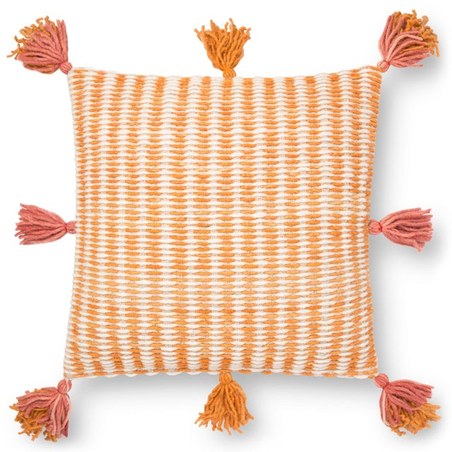"""Part of the Justina Blankeney Collection; A geometric design with (8) tassel surrounding the pillow. 22""""x 22"""". Made in India."""