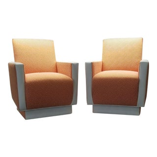 Custom Sherbert & Leather Chairs - a Pair