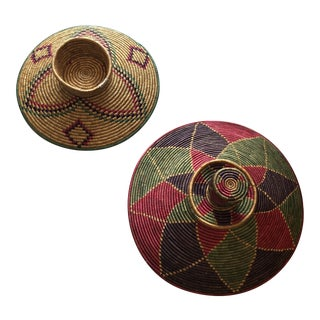1970s Boho Chic Woven Hat Baskets - 2 Pieces For Sale