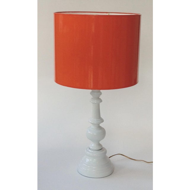 Not Yet Made - Made To Order Medium High Gloss Orange Drum Lamp Shade For Sale - Image 5 of 6