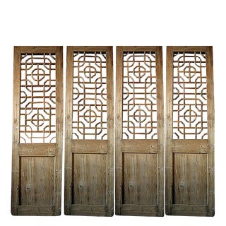 19th Century Antique Chinese Pine Screen Divider For Sale