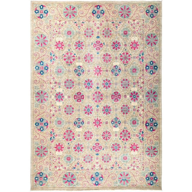 "Suzani Hand Knotted Area Rug - 10'1"" x 14'1"" For Sale - Image 4 of 4"