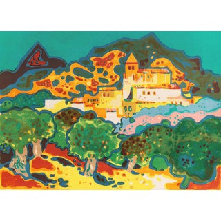 'View of a Village in France' by Guy Charon; Modernist Lithograph, Salon D'Automne, Paris For Sale