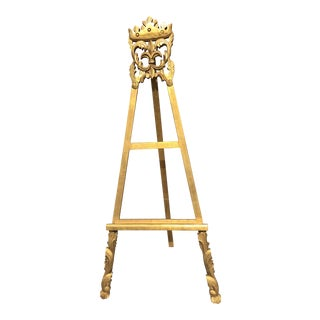 Victorian Oversized Carved Easel With Gold Gild Finish For Sale
