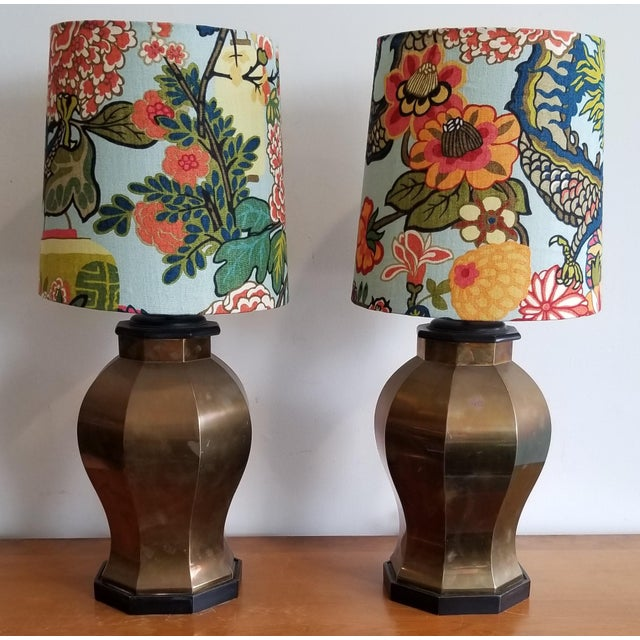Vintage Brass Lamps With Custom Shade in Schumacher Chang Mia Fabric - a Pair For Sale - Image 4 of 4