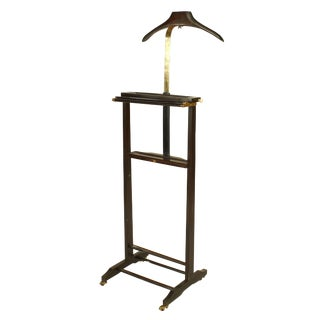 Italian 1940s Mahogany Stained and Brass Valet Stand For Sale