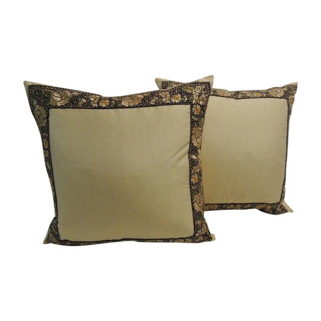 Petite Yellow Japanese Silk Pillows - A Pair - Image 1 of 4