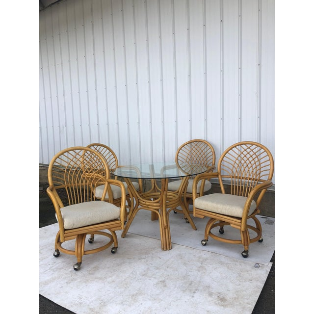 Vintage Glass Top Rattan Table and Wheeled Chairs Set - Set of 5 For Sale - Image 13 of 13