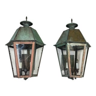 2000s American Hand Crafted Brass Wall Hanging Lanterns - a Pair