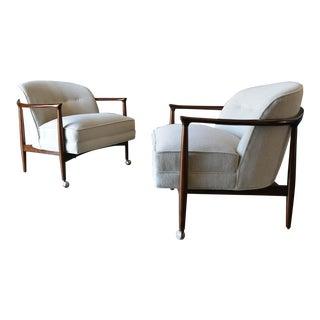 1960s Vintage Finn Andersen for Selig Denmark Barrel Back Lounge Chairs - A Pair For Sale