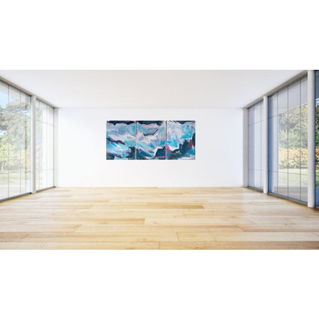 """High Seas"" by Trixie Pitts Large Triptych Abstract Oil Painting For Sale - Image 9 of 13"