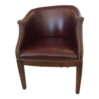 Vintage English Barrel Back Leather Tub Chair