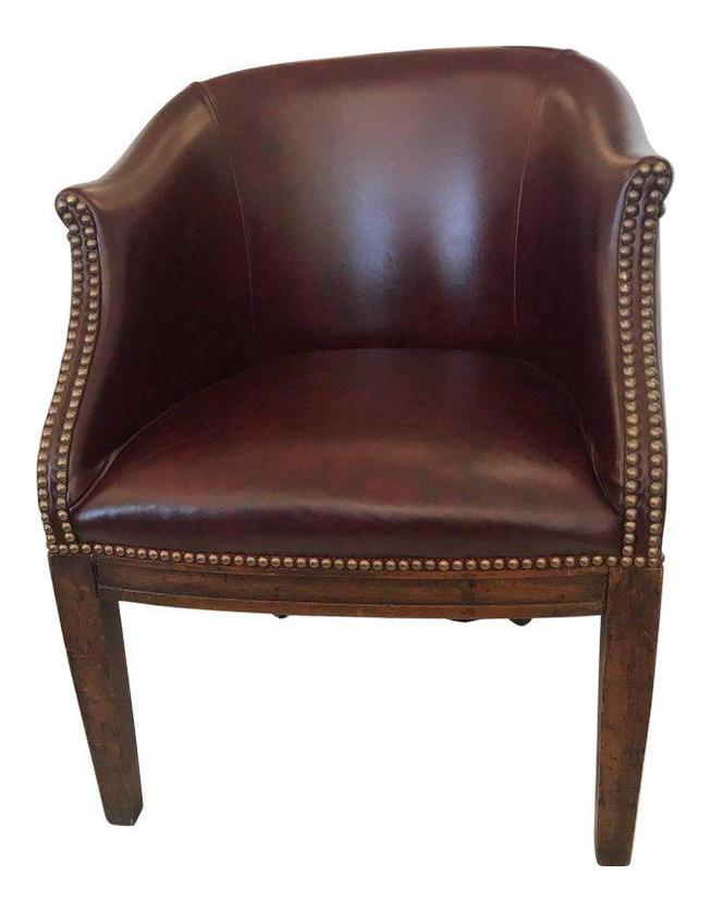 Vintage English Barrel Back Leather Tub Chair