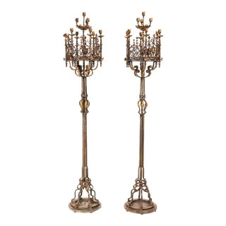Candelabras, Grand Scale Iron and Bronze Torcheres For Sale
