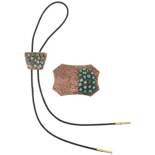Brutalist Copper Turquoise Western Belt Buckle and Bolo Tie, Circa 1960 For Sale