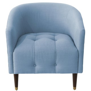 Modern Tufted Tub Chair in Linen Denim For Sale