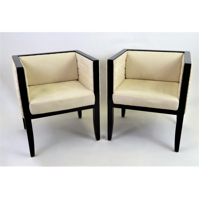 Art Deco 1990s Pietro Costantini Quilted Ultrasuede Yale Armchairs - a Pair For Sale - Image 3 of 12