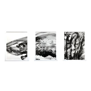 """Great White 1"" Contemporary Shark Series Ink Painting Triptych by James Repton, Framed - Set of 3 For Sale"