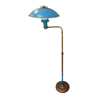 Mid-Century Vintage Enamel and Brass Saucer Floor Lamp For Sale
