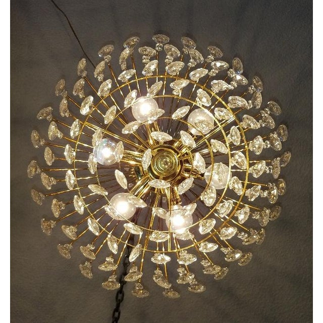 Mid-Century Crystal & Brass Plated Spider Chandelier - Image 4 of 11