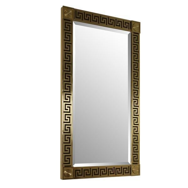Brass Detailing with Bevel Mirror as shown in 5872 Greek Key Brass Finish. Designed by Mary McDonald