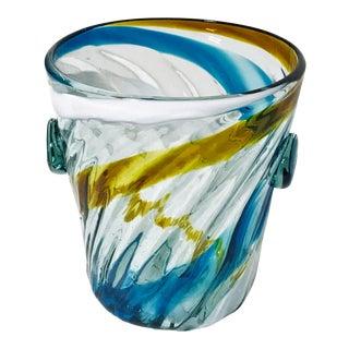 Vintage Handblown Art Glass Ice Bucket For Sale