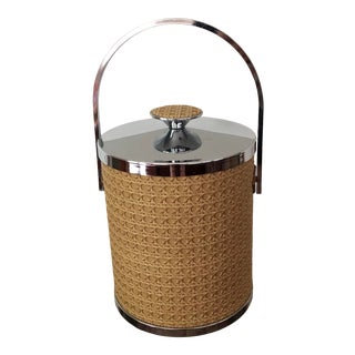 Vintage Mid-Century Rattan Cane & Chrome Ice Bucket For Sale