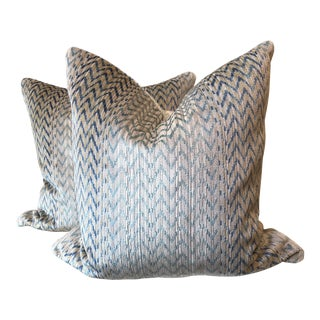 "Chevron Cotton Velvet 22"" Pillows - a Pair"